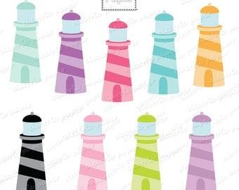 Light House Clip Art  - Pastels -  Instant Download
