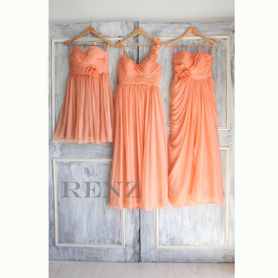 mismatched bridesmaid dresses /mismatch mix match /Bright Peach / dresses /Fairy / Bridesmaid / Party dress/ wedding dress/ Bride