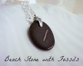 Beach Stone Pendant Jewelry - Dark Grey Beach Stone with Fossils - Genuine Beach Stone