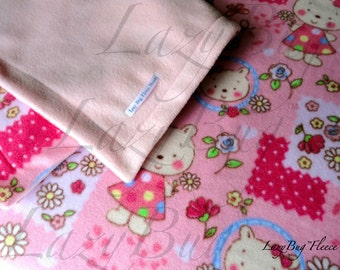 Infant PlayYard Sheet Blanket Set Handmade Fleece Bedding Set for Babies 'Pink Bears' Print