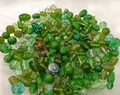 Lampwork Vintage Lamp Work Lampwork Hand Made Glass Beads Lime Green Half Pound +