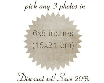 Pick any 3 photos in 6x8 - Discount set sale - save 20% - wall art - gift set