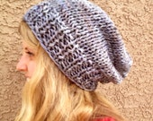 READY TO SHIP Variegated Dove Grey Slouch Beanie for Men or Women Knit Hat
