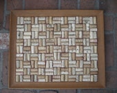 upcycled wine cork corkboard with wood  frame