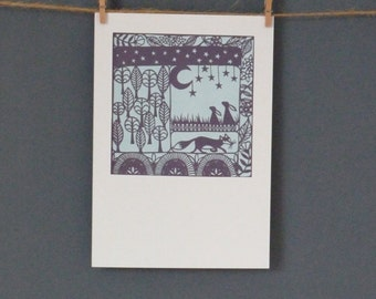 HALF PRICE Greeting Card taken from 'A Woodland Tale' paper cut by Loula Belle At Home