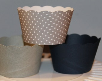 Navy and Grey Cupcake wrappers