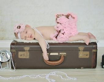 Pettiskirt and Headband Set Brown Leopard Print Light Pink Ruffles Newborn Photo Prop Sizes Newborn-24 Months Baby Girl Chic