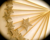 Silver Glitter Star Cupcake Toppers - Vintage Inspired -Set of 6