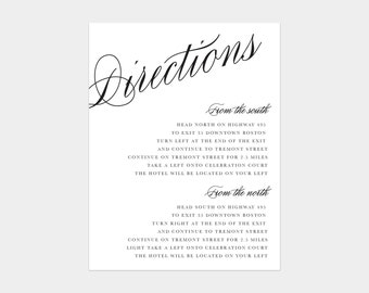Calligraphy Directions Enclosure Card