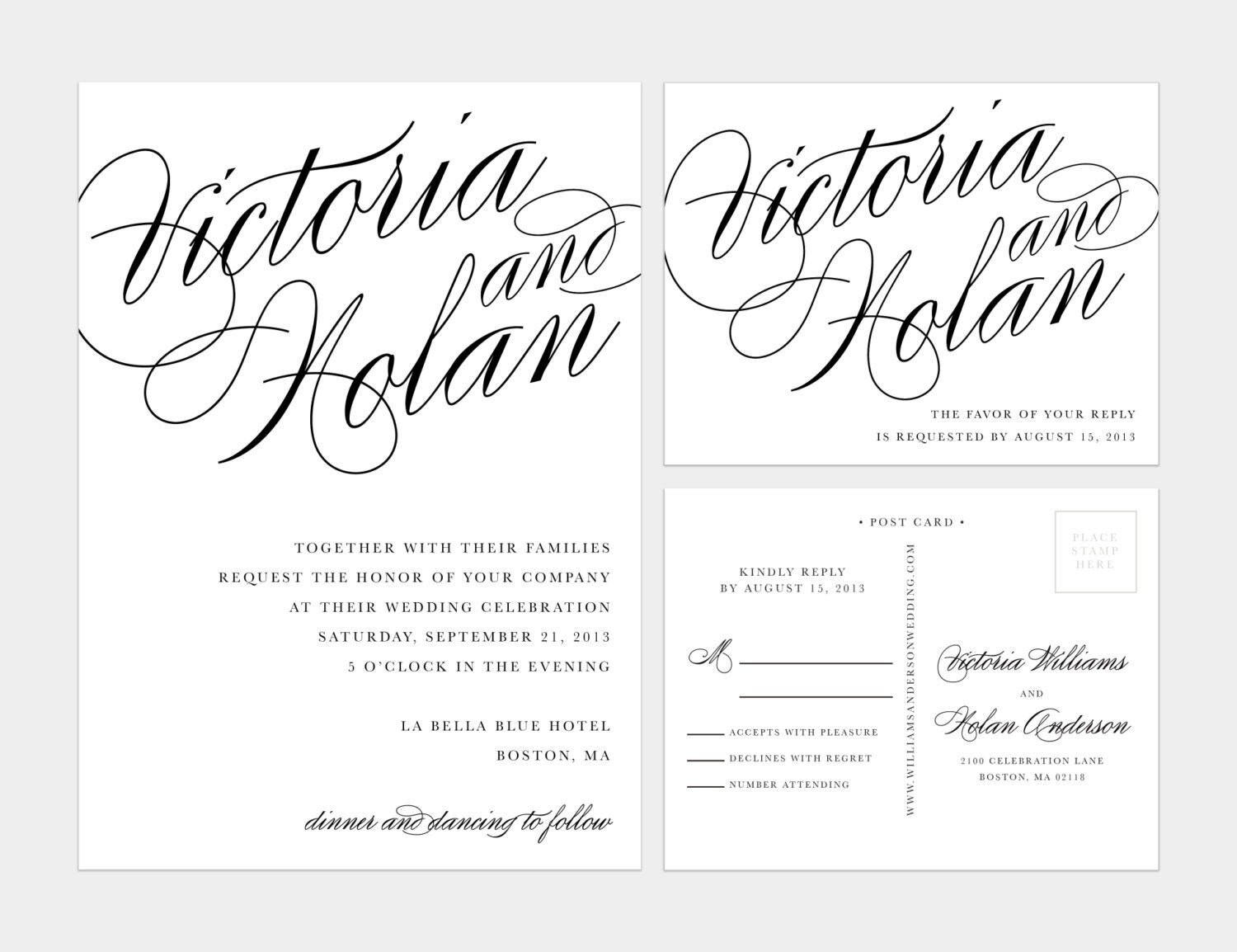 Printable Calligraphy Wedding Invitation By