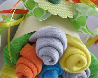Washcloth Bouquet for Baby Gender Neutral