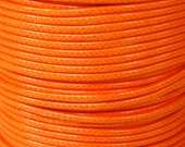 5 Yards - 2mm TANGERINE Orange KOREA Waxed Cotton Cord - 15 Feet Round Cotton Wax Cord - Beading Stringing Cord - Instant Ship - USA Seller