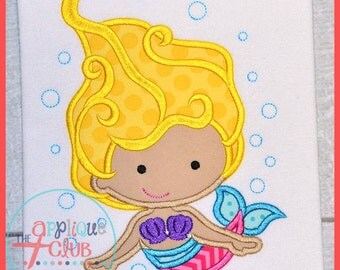 Mermaid with Bubbles - Appliqued and Personalized