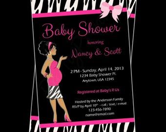 Printable Baby Shower Invitations -  Personalized - Custom - Pink Zebra