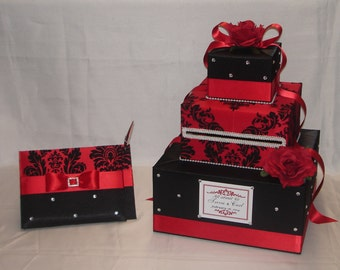 Elegant Romantic theme Wedding Card box/Guest Book and Pen set-any colors