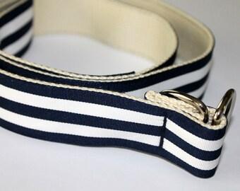 "Navy and White Belt Groomsmen Belt Striped Ribbon Belt Preppy D Ring Belt Ribbon Belt  Adult Belt 1.5"" Belt Nautical BElt"