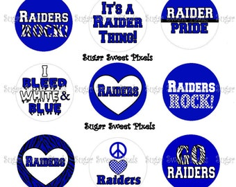 INSTANT DOWNLOAD Blue Raiders School Mascot 1 inch Circle Bottlecap Images 4x6 sheet
