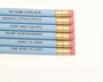 Resolution pencil set of six in baby blue. Inspiring engraved pencils. New Year Inspiration