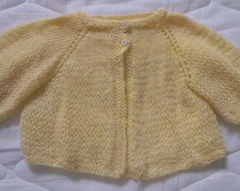 Baby Sweater Vintage 1960s Hand Knit/Crochet Yellow Baby Sweater