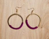 Magenta Earrings (Wrapped Gold Hoops, by Huang)