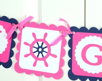 Anchor Name Banner, Baby sign, Baby shower Sign, Hot Pink and Navy Blue Banner, Anchor Theme