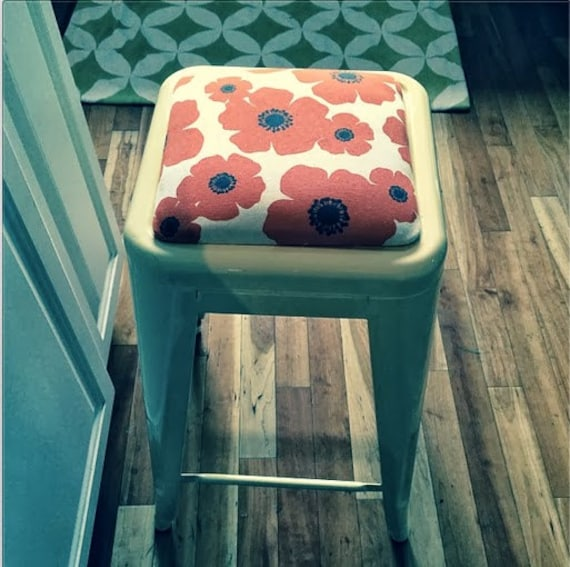 "Custom Upholstered Seat Cushion Tolix Style 24"" Bar Height Stools:  in the Fabric of Your Choice"