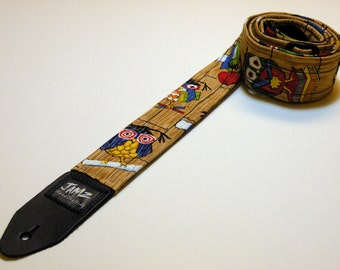 Handmade Double Padded CRAZY HOOTERS Guitar Strap