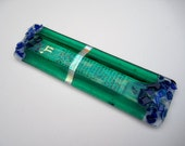 Custom Fused glass mezuzah with wedding glass shards, gold painted Shin or chai, dichroic glass