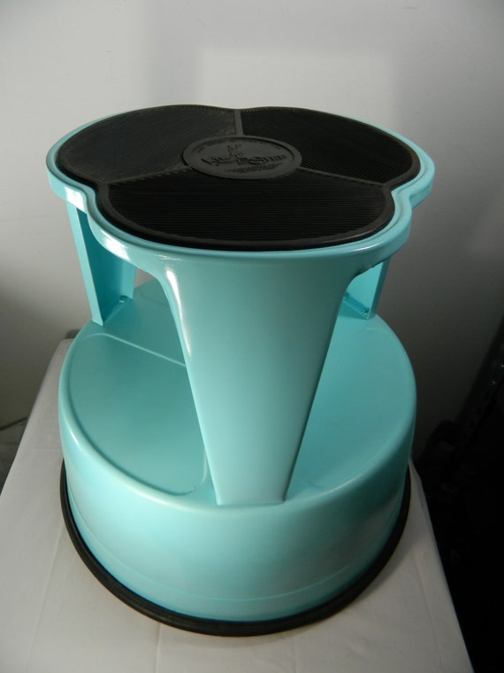 Vintage Metal Stool Kik Step Teal Color Stool With Casters