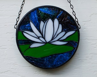 Stained Glass Iridized White Water Lily Window Hanging Suncatcher