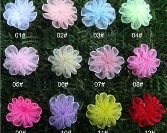 "12-Mesh Flowers Pick Your Own Colors-1"" Mesh Flower Kids Hair Accessories / Shoe Flower / Baby headdress / Mini Top Headbands."