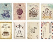 Retro Stamp Sticker Set - ver. 1- 01Atelier  - 2 Sheets - 16 Pcs