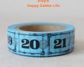 Numbers with Blue - Japanese Washi Masking Tape - 11 yards