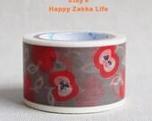 Japanese Washi Masking Tape - Apple - Shinzi Katoh - 30mm Wide - 11 Yards