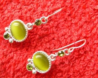 green tiger eye earrings