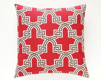 CLEARANCE 50% OFF Red Trellis Throw Pillow Cover. 16x16, 18x18, 20x20 or Lumbar. Geometric Red and Brown. Throw Pillow Cover.