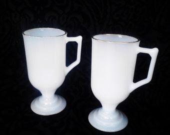 Milk Glass Pedestal Mugs with Gold Trim - Set of 2