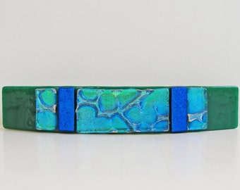 "Large 4-1/4"" Dichroic Fused Glass Barrette Ponytail Hair Barrette Jade Green Blue Dichroic Glass Jewelry Hair Accessory Women Girls Under 30"