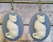 Earrings with a White Kitty Cat on a Blue Colored Cameo on Lever Back Hooks