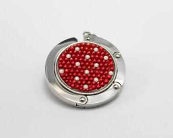 Polka Dot foldable bag hanger, purse hook, bag holder made with Swarovski flatback crystals  - Red