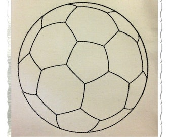 Redwork Style Soccer Ball Machine Embroidery Design - 5 Sizes