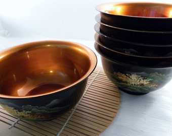 Vintage Set of 6 Matching Asian Lacquer Bamboo Bowls. 4 In Wide x 2.75 In Tall.  Black Hand Painted w Copper Gold Interior.  Very Nice.