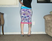 Sugar Coated Roses - An Electric Floral Pencil Skirt