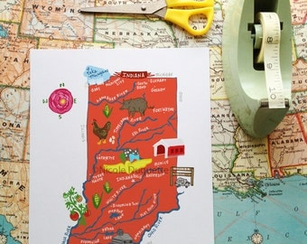 """Indiana Illustrated 8""""x10"""" Map"""
