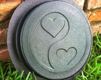 Yin Yang Hearts Concrete Cement Stepping Stone Paver Stone Mold