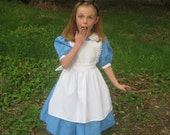 Alice in Wonderland Dress, Costume, vintage Disney look, Blue dress and White Apron