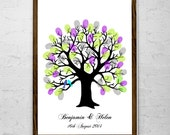 """A3 16.5 x 11.5"""" Inked Oak Fingerprint Tree Guest Book - up to 150 guests"""
