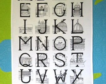Glasgow Alphabet (Monochrome) - 100% cotton teatowel