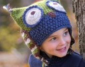 CROCHET PATTERN #121 - Owl Hat - five sizes included baby, toddler, child, adult - Instant Download pdf- hat crochet pattern
