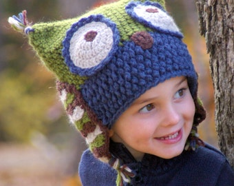 CROCHET PATTERN #121 - Owl Hat - five sizes included baby, toddler, child, adult - Instant Download pdf- hat crochet pattern L